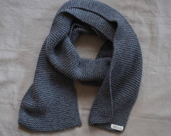 dark gray knitted scarf