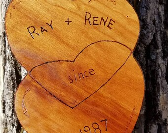 Personalized Valentine, cherry hardwood