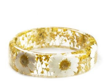 Daisy Bracelet -Real Dried Yellow Flower