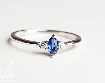 Blue Sapphire Engagement Ring - Gemstone Engagement Ring - White Sapphire Engagement Ring - Promise Ring For Her - 14K White Gold Ring