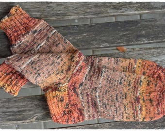 cozy socks women's size UK 6,5-7,5 / US 8,5-9,5, hand knitted, warm colors, Schöller&Stahl, Mexico country colors # Grand canyon