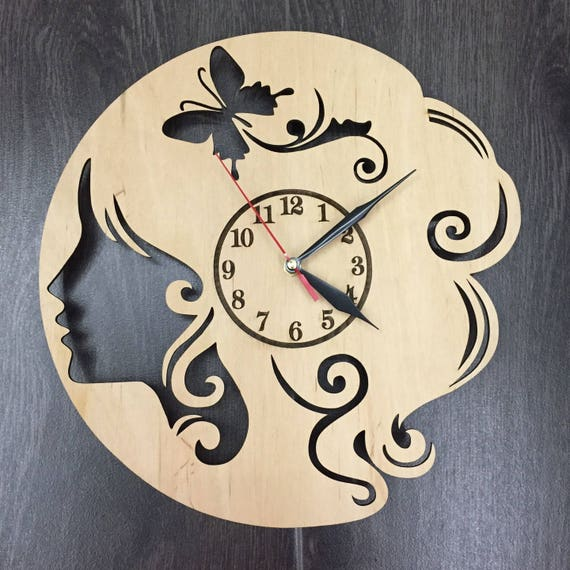 salon de coiffure horloge murale en bois cadeaux. Black Bedroom Furniture Sets. Home Design Ideas