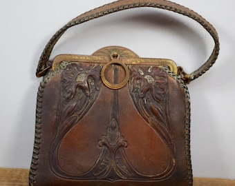 Art Nouveau Tooled Leather Purse, Arts and Crafts 1920s Purse, Antique Jemco Handbag, Art Deco Floral Pocketbook, Hand Tooled Leather Suede