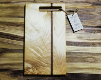 Wood Cutting Board. Cheese Board.  Hardwood Cutting Board.  Maple and Mahogany Board. Serving Tray.  Wood Appetizer Platter. Handmade.