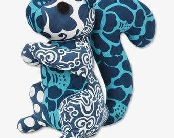 Blue Patchwork Squirrel Stuff Animal - Handmade in Bali, Plush Toy, Navy, Stuffed Animal, Baby Toy