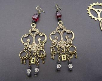 Earrings steampunk retro Victorian key padlock lava red glass stone