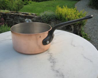 A Very Good Vintage French Professional Quality Copper Saucepan Made In France  3 mm Thick For Farmhouse Kitchen /  Country Kitchen