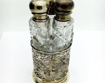 3 Bottle Sterling Silver and Cut Crystal Perfume Bottle Set