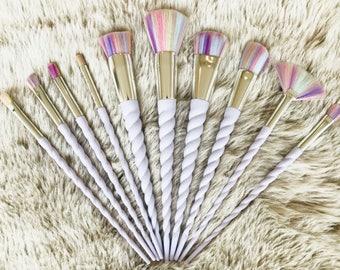 10pcs Sapphire Cosmetics Professional Unicorn/mermaid Makeup brush set - vegan
