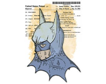 T-Shirt: BATMAN - Mask of the Bat / retro inspired by LazyCarrot / gothic steampunk boho - birthday christmas gifts Costume Patent Superhero