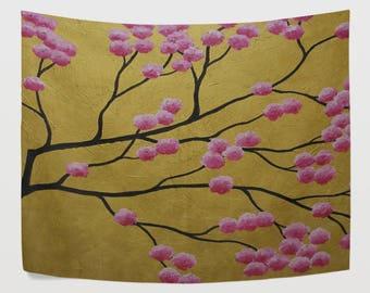 Golden Japanese Cherry Blossom Tapestry Wall Hanging Sakura Flower Tree Branches Oil Painting Wall Decor Art for Living Room Bedroom Dorm