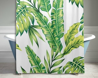 Tropical Jungle Palm Banana Leaf Polyester Fabric Shower Curtain Bathroom Sets Home Decor 60 X 72 Inches Green