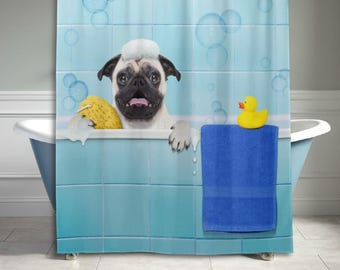 Funny Pug Dog Shower Curtain 60 X 72 Inch Bathroom Sets Home Decor Dog Lover Gift
