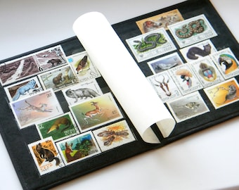 Vintage Album with Postal Stamps of the USSR-Soviet Postage Stamp Collecting Album-Vintage Stamp Book-set of 22 Soviet animals theme stamps