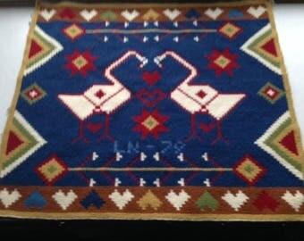 Vintage Swedish Wall Hanging, Weaving, Tapestry, Wool, Swans/Folk art