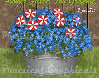 Galvanized Tub with Flowers Graphic-Large, 2pc Set of PNG with Transparent Background