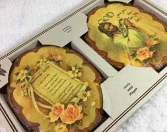 Vintage Wintermute Inspirational Rustic Wood Plaques / set of 2 in original, unopened box / Marriage Creed / God gave you the best He had