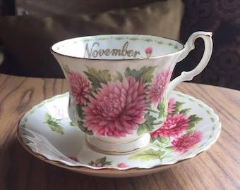 Royal Albert Flower of the Month Teacup and Saucer - November - Chrysanthemum