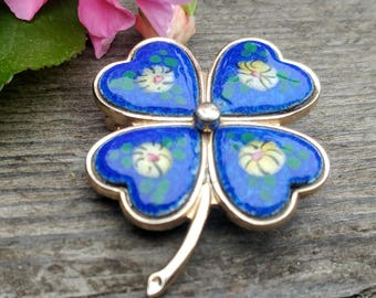 Vintage Guilloche Enamel Pin // Good Luck Four Leaf Clover // Something Blue Wedding Jewelry