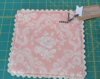 Soft Pink Floral Candle Mat with ivory rick rack