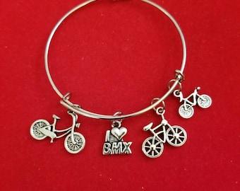 Silver I love BMX Charm Bracelet