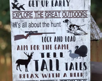 Hunting Rules Sign - Metal Hunting Sign - 12x8 Metal Sign - Home Decor - Cabin Decor - Lodge Decor