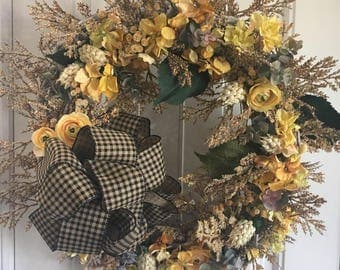 Fall Wreath - yellows and beiges with black and tan checked bow