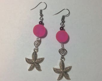 "Earrings ""starfish and small Pearl Heart pink"""
