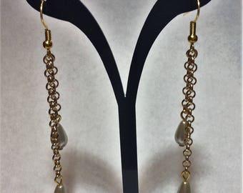 """Pearly pears"" golden earrings"