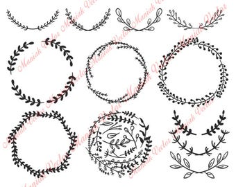 Instant Download! - Hand Drawn Leaf Wreath Svg, Leaf Wreath svg, Leaf Wreath Clipart, Leaf Wreath Decal, Frames for Silhouette, Hand Drawn