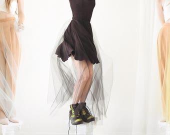 Tulle Maxi Skirt - Full Length Sheer Tulle Skirt - Mesh Overskirt with Vines and Flowers -- Floral Bridal Overskirt