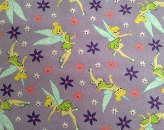 Flannel/Disney/Tinkerbell on lavender background cotton fabric by the yard