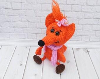 Fox Stuffed Animal Knitted Fox Soft Styffed Toys Funni  Fox Toy
