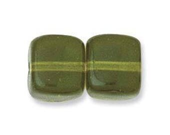 8x11mm Czech Glass Cube Beads, Beveled Transparent Square for Making Jewelry, Jewellery // 8mm x 11mm Cube Bead in Olivine 50