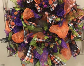 Halloween wreath, fall wreath, deco mesh wreath, ready to ship