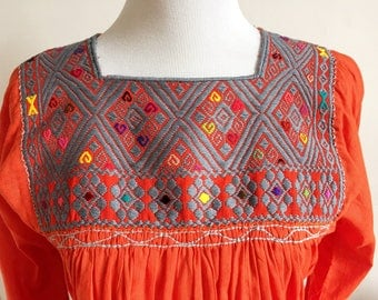 Mexican Embroidered Top, Mexican Peasant Blouse, Mexican Embroidered Blouse, Bohemian Embroidered Top, Orange Mexican Top