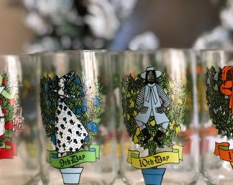 Complete Set - 12 Days of Christmas Tumblers, Collectible Anchor Hocking Drinking Glasses // SALE