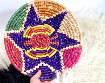 Large African Wall Basket, Colorful Starburst Basket