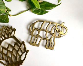 Vintage Brass Elephant Trivet