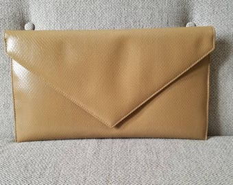 Vintage Large Evening Tan Clutch