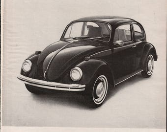 1969 VW Volkswagen Beetle Live Below Your Means Print Ad