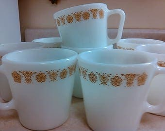 Vintage Pyrex Gold Butterfly Print D Handle Coffee Cups Mugs Set of 8 1960's Nice 1410