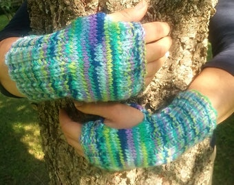 Green and blue multicolor hand knit wrist warmers  acrylic/ gifts for her/ autumn gift/ fall gift / lounge wear / outdoor clothing