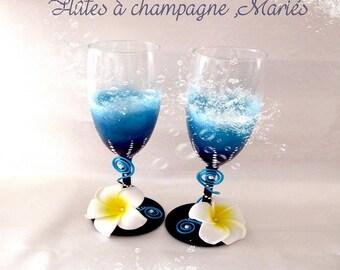 """Bora - Bora"" champagne flutes"