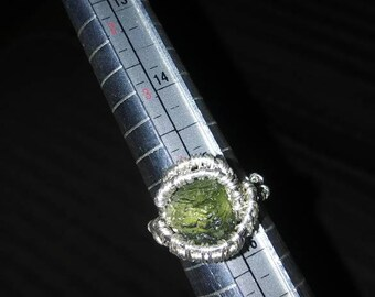 Moldavite wire wrapped ring