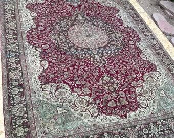 "Largers rug,vintage oushak rug.6""7x8""9ft.oushak rug,hallway rug,medallion rug,turkish rug,carpet,rugs,anatolion rug,handwoven rug,area rug."