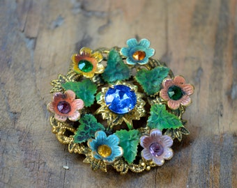 Original 1950's Brooch, Floral Brooch, Gifts for Her, Bridesmaid Gifts, Brooch, Vintage Jewelry, Antique Brooch, Gold Coloured Brooch