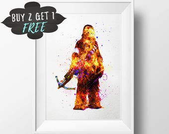 Star Wars Art Poster, Chewbacca Wall Art Print Poster, Star Wars Watercolor Nursery Decor Printable, Instant Download, Chewbacca Poster