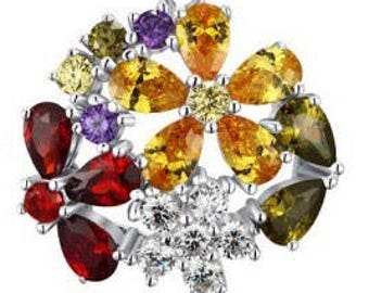 Multicolor Flower - 925 Sterling Silver CZ