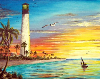 Light House SunSet Cross Stitch Pattern***LOOK***